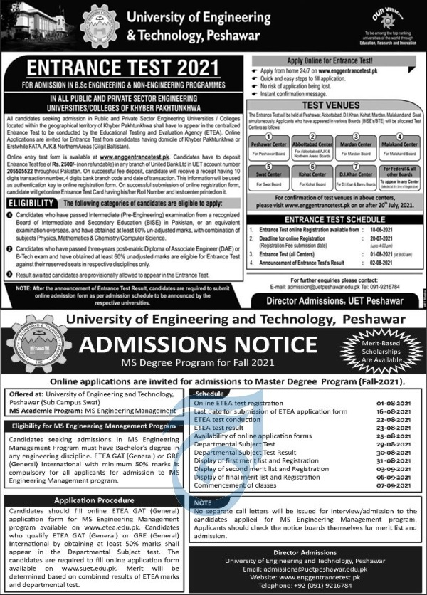 UET Peshawar Entrance Test for Engineering and Technology Admission 2021 ETEA Entry Test Application Form Last Date Eligibility Criteria Fee Structure