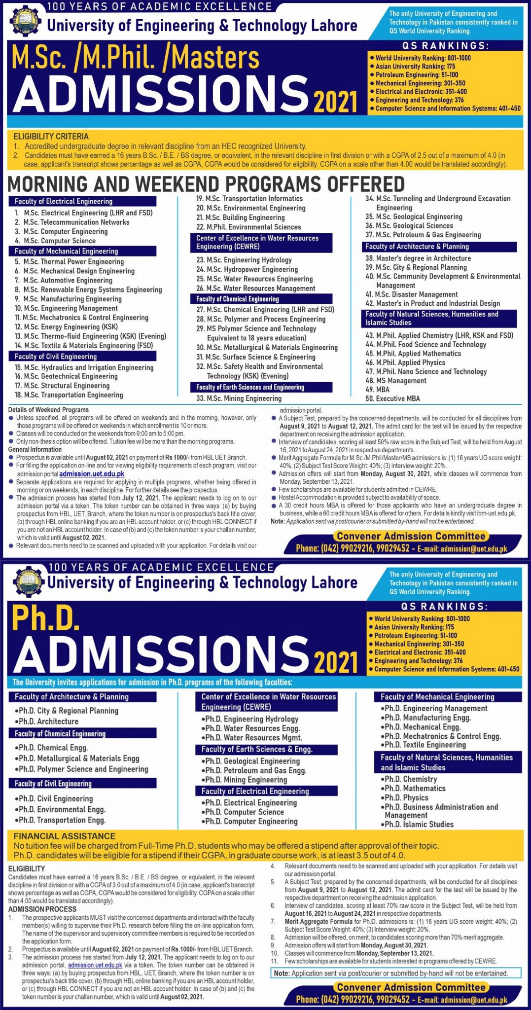 University of Engineering and Technology UET Lahore Admission 2021
