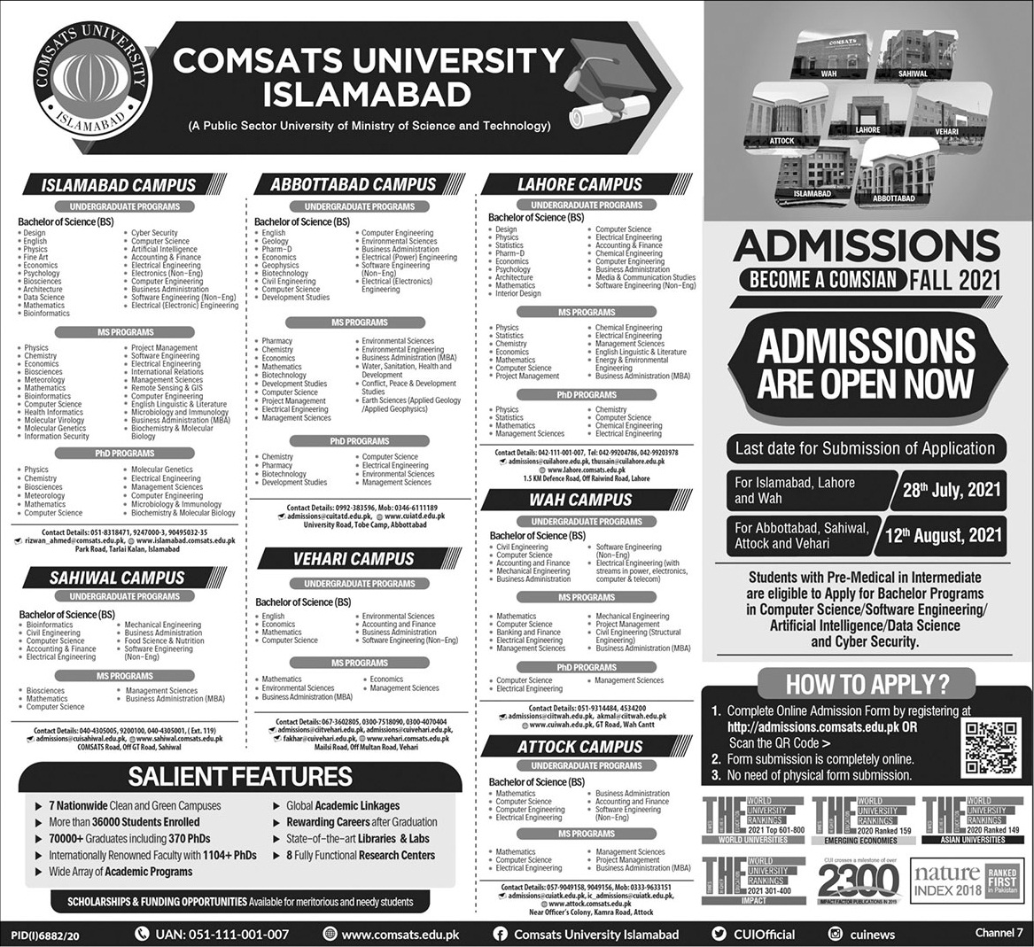 COMSAT Institute of Information Tech CIIT Islamabad Admission 2021 Application Form Eligibility Criteria Procedure