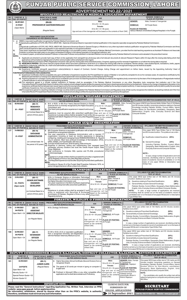 PPSC Specialized Healthcare And Medical Education Department Jobs 2021 Online Apply