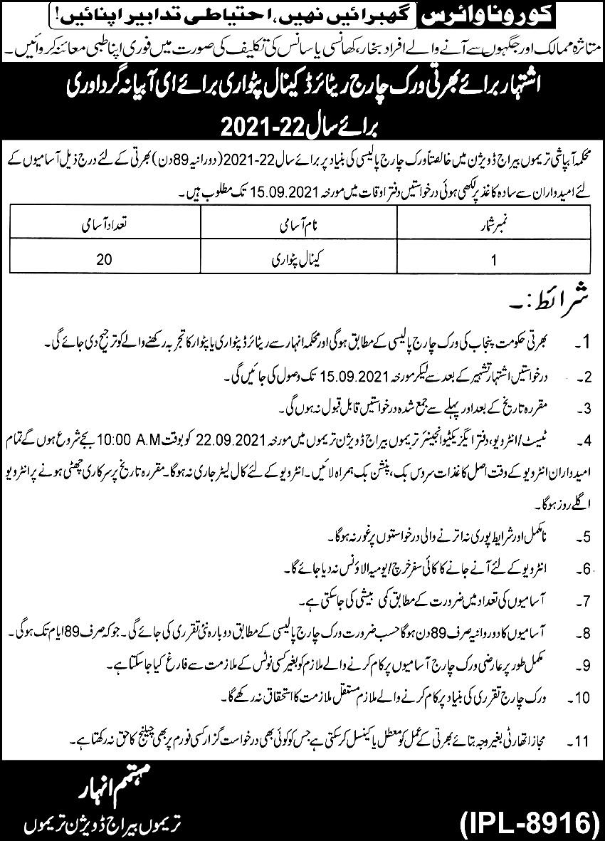 Irrigation Department Punjab Jobs 2021 Application Form Last Date Note