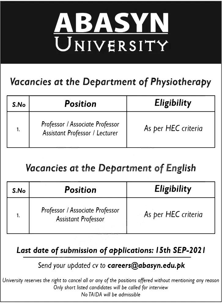 Abasyn University Peshawar Jobs 2021 Eligibility Criteria Last Date to Apply