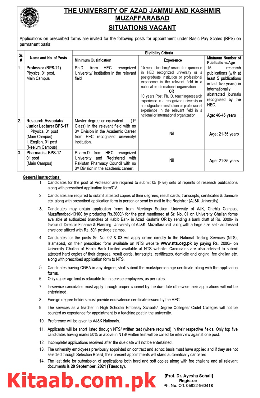 The University of Azad Jammu And Kashmir Muzaffarabad NTS Jobs 2021 Online Application Form Last Date